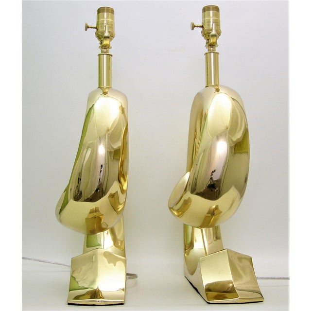 Restored Pierre Cardin Mid-Century Modern Solid Brass Logo Designer Lamps - a Pair Millennial - Image 6 of 11