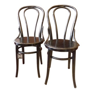 Vintage Bentwood Black Cafe Chairs - A Pair