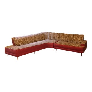 Mid-Century Modern Red & Leopard Boomerang Sectional
