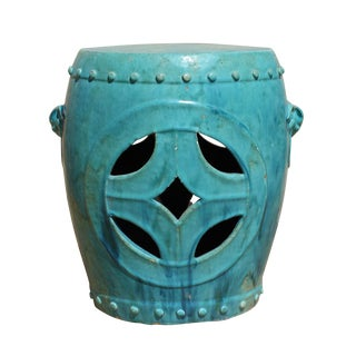 Chinese Distressed Turquoise Green Round Clay Ceramic Garden Stool cs2842