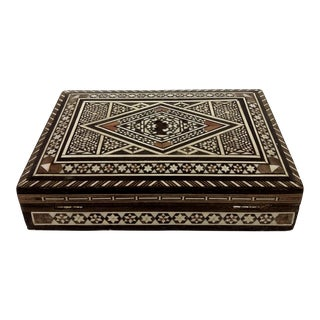 Moroccan Inlaid Mother of Pearl & Bone Wood Box