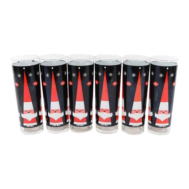 Holt Howard MCM Dairy Queen Christmas Glasses- S/6 - Image 1 of 5