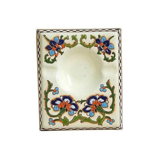 1950s French Enameled Porcelain Ashtray Catchall - Image 6 of 6