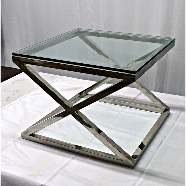Stainless Steel & Glass Top Square Crossing Table - Image 6 of 8