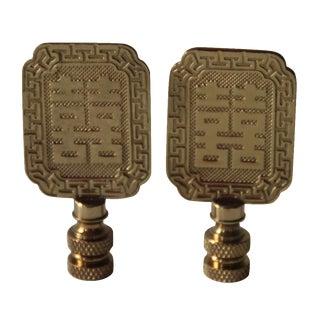 Asian-Style Brass Lamp Finials - A Pair