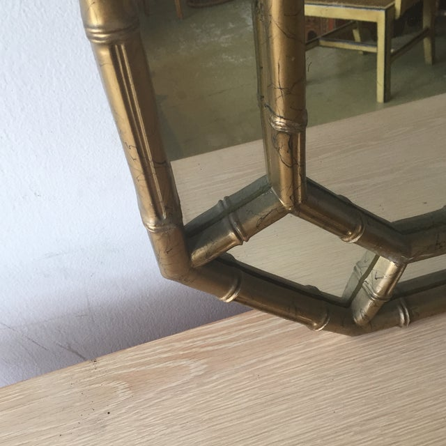 Hollywood Regency Faux Bamboo Octagon Mirror - Image 4 of 5