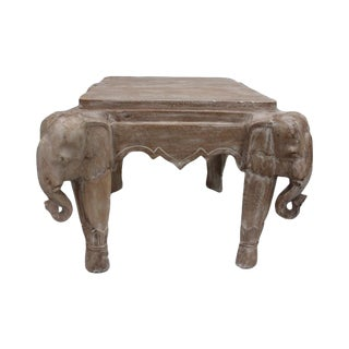 Italian Carved Wood Elephant Side Coffee Table
