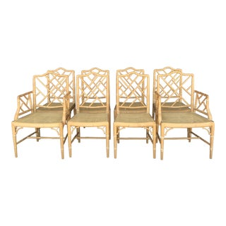 Vintage Chinese Chippendale Dining Chairs- Set of 8