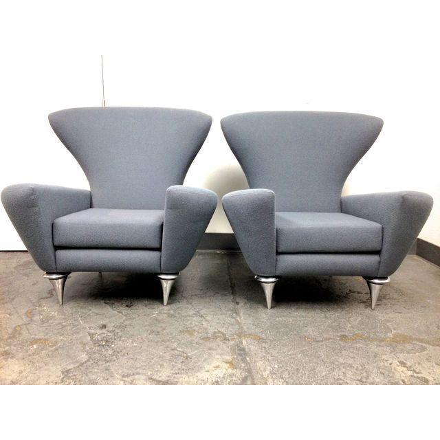 Modern Galerkin Wing Back Chairs - Pair - Image 2 of 7