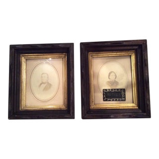 Antique Family Portraits in Lovely Wood and Gilt Frames - A Pair