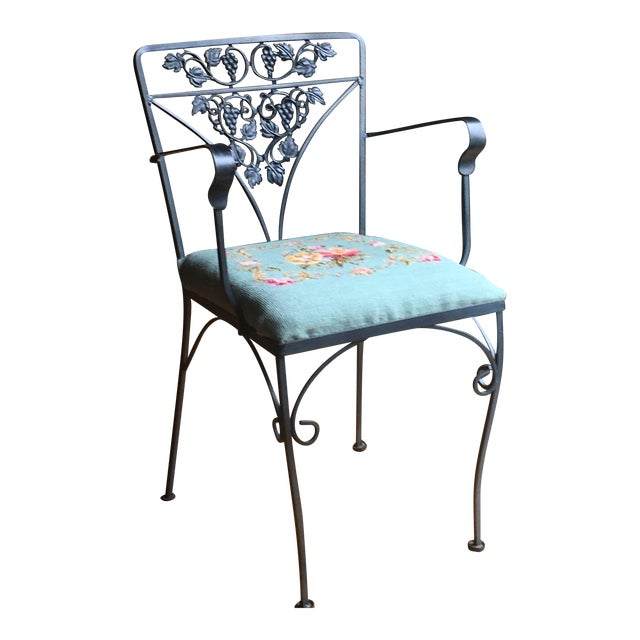 Needlepoint Cushion Wrought Iron Chair - Image 1 of 10