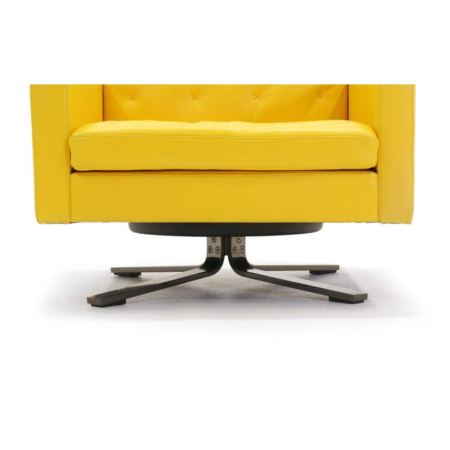 Poltrona Frau Yellow Leather Memory Swivel Lounge Chair - Image 11 of 11