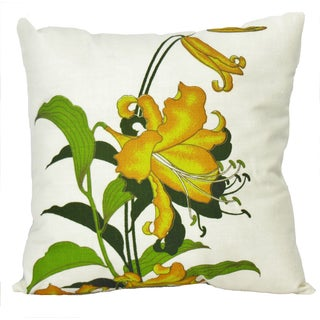 Vintage Alfred Shaheen Yellow Lily Print Pillow