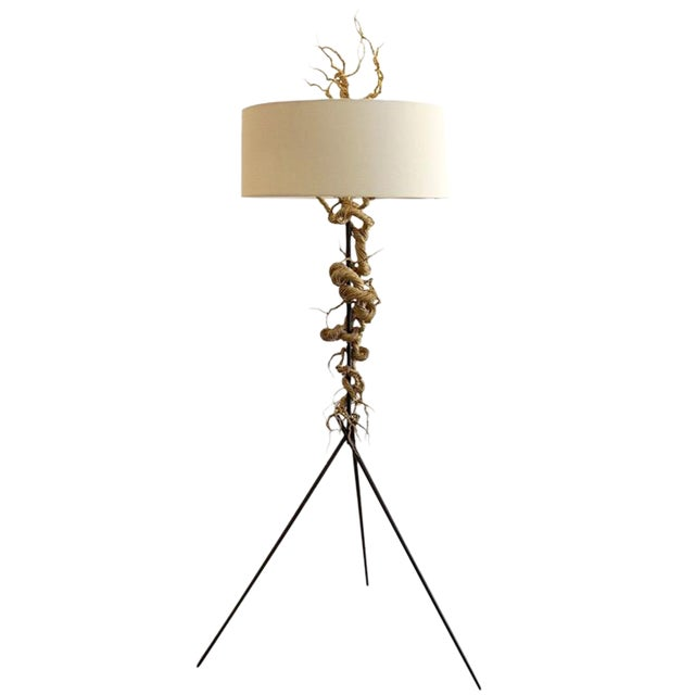 Twisted Brass Wire / Tripod Floor Lamp - Image 1 of 6