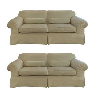 Baker Furniture Cream Chenille Sofas - A Pair