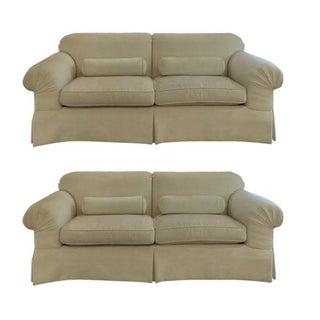 Baker Furniture Cream Chenille Sofas - A Pair