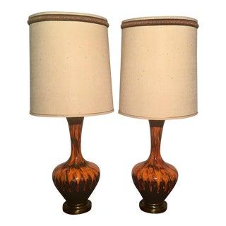 Vintage Drip Glaze Lava Lamps - a Pair