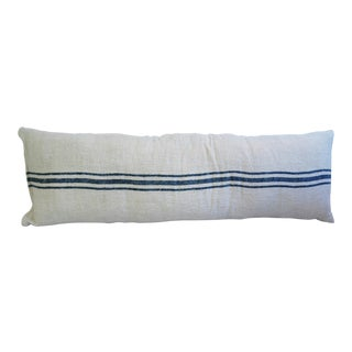 French Homespun Blue Striped Long Body Pillow