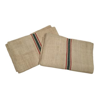 French Vintage Green & Red Stripe Grain Sacks - A Pair