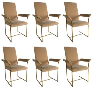 Set of Six Brass Frame Dining Chairs, Style of Milo Baughman