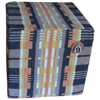Wool Horse Blanket Upholstered Pouf Ottoman