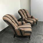 Image of Striped Upholstered Lee's Chairs - A Pair