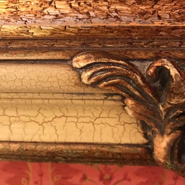 Vintage Carved Crackled Wood & Burnished Gold Mirror - Image 8 of 8