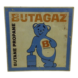 "1940 Vintage Metal ""Butagaz"" Advertising Flange Sign"