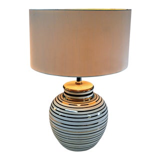 Mid Century Bowl Table Lamp & Drum Shade