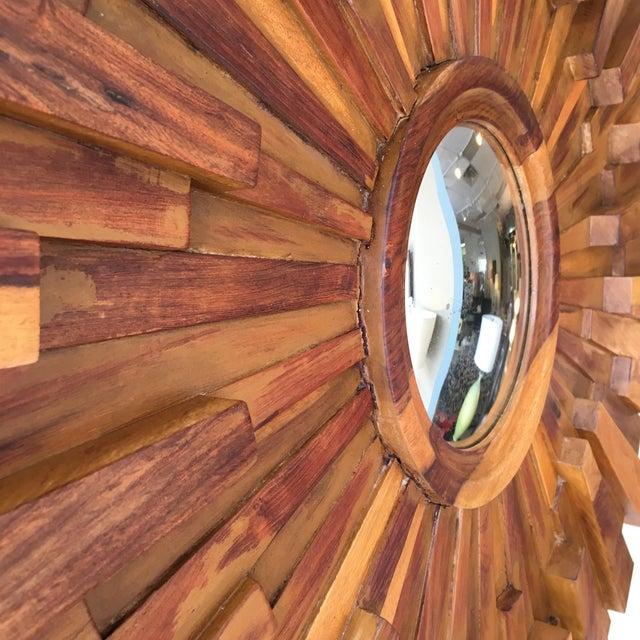 Brutalist Style Wood Sunburst Mirror - Image 4 of 5