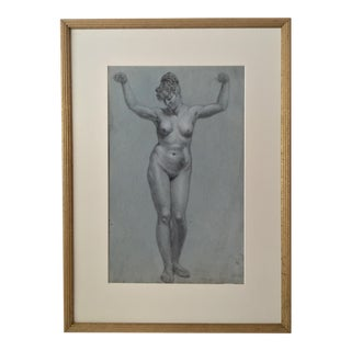 Antique French Nude Female Drawing C.1800