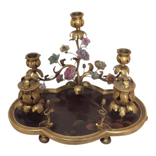 French Lacquer & Bronze Encrier Inkwell