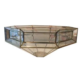 Vintage Beveled Glass/Aged Gold Centerpiece Bowl