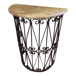 Demilune Marble & Iron Table