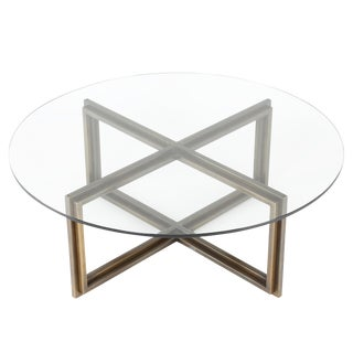 BRONZE X-BASE COFFEE TABLE WITH ROUND GLASS TOP, CIRCA 1970S