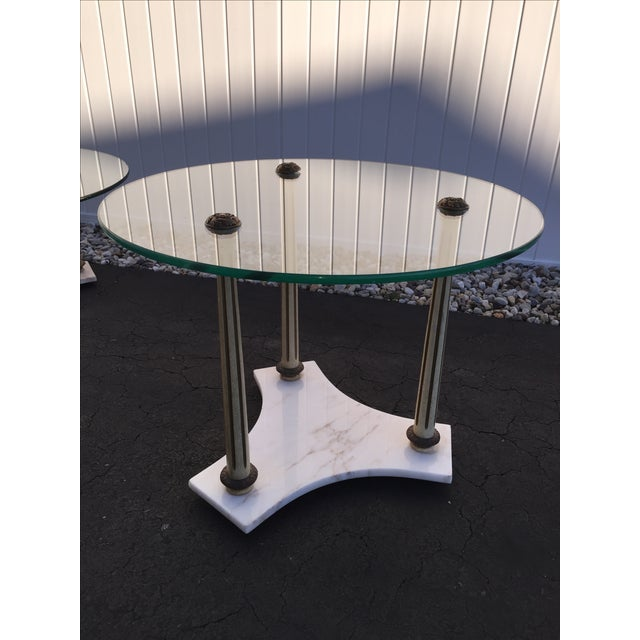 Image of Hollywood Regency Marble Glass Tables - Set of 3