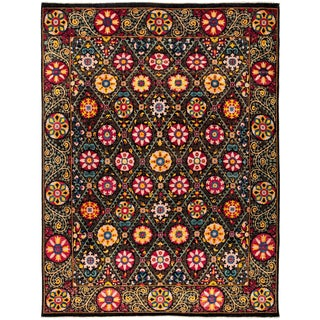 "Suzani, Hand Knotted Area Rug - 9' 1"" x 11' 9"""