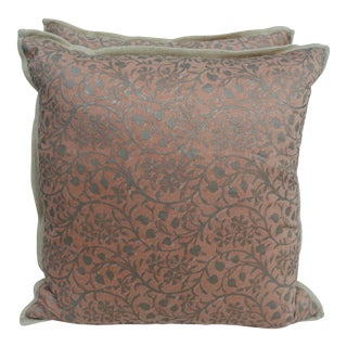 Pair of Fortuny Pillows w/ Linen Backs