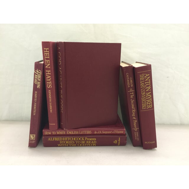 Image of Burgundy Decorative Books - Set of 7
