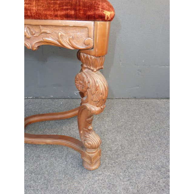 Antique Ornate Carved Orange Velvet Bench - Image 7 of 10