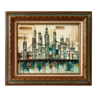Mid-Century Abstract Oil on Canvas Cityscape Painting by Hadley