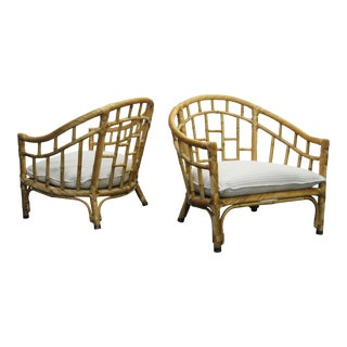Pair of Oversized Barrel Back Bamboo & Rattan Chairs by Ficks Reed
