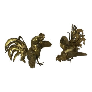Brass Fighting Roosters - A Pair