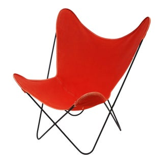 Butterfly Chair in Red-Orange Canvas