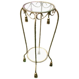 Gilt Rope and Tassel Iron Plant Stand