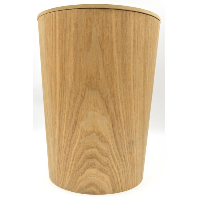 Japanese Bamboo Wood Waste paper Basket Bin With Lid Circular - Image 6 of 6