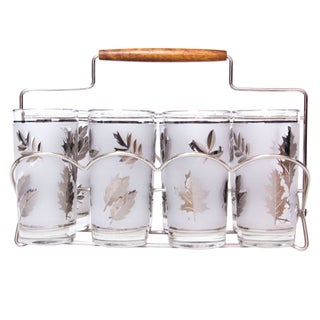 Mid-Century Glasses with Silver Caddy - Set of 8