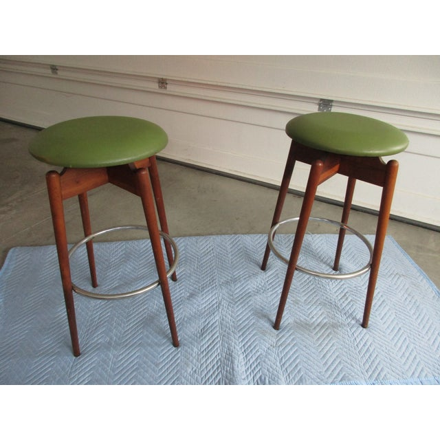 Danish Modern Floating Top Bar Stools - A Pair - Image 10 of 10