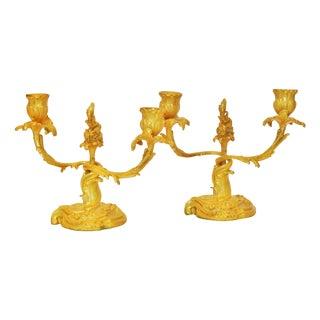 Gilt Bronze Rococo Candlesticks - Pair