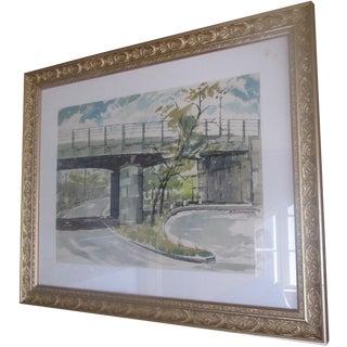Mid-Century Bridge Watercolor